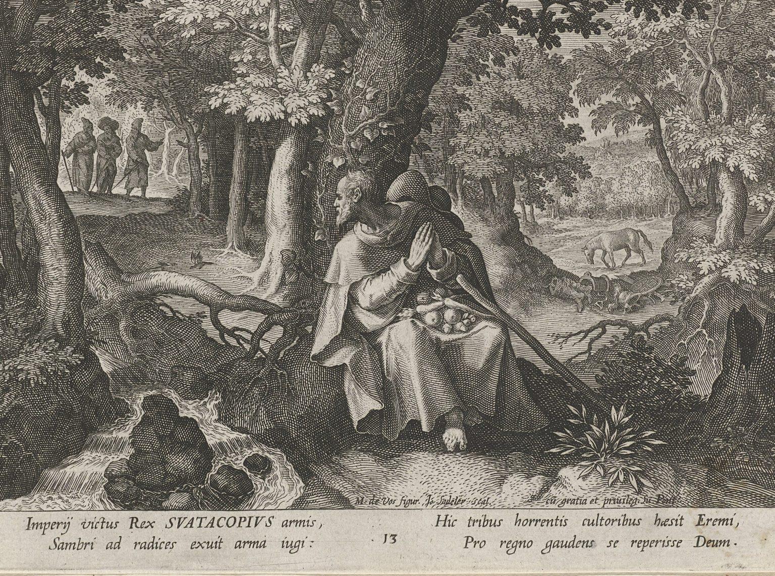 Obraz z knihy morálnych poučení rímsko-nemeckého cisára Karola V. a španielskeho kráľa, ktorý ako príklad uvádza legendu o Svätoplukovi, ktorý odišiel z boja, zakopal zbroj a dal sa k mníchom - pustovníkom, aby sa pripravil na večný život. Pri tomto obrázku je zaujímavé nielen to, že najmocnejší panovník 16. storočia si za vzor zobral kráľa (nie knieža) Svätopluka, ale že na konci svojho života i nasledoval jeho príklad.
